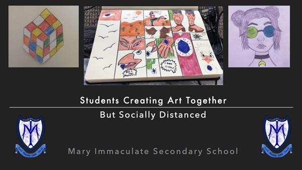Students Creating Art Together But Socially Distanced