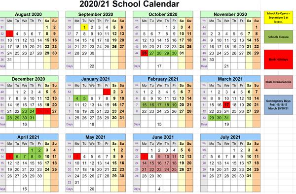 Our School Calendar 2020.2021