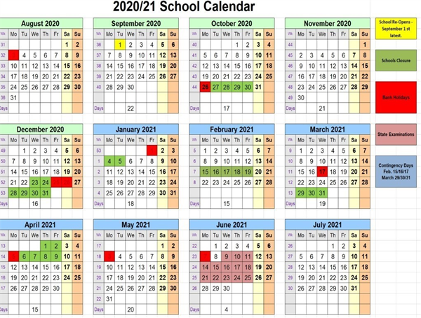 School Calendar 2020/2021