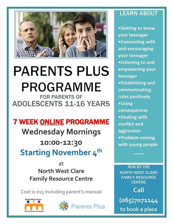 Parents Plus Adolescent course online NCFRC
