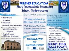 Further Education Courses Now Enrolling for the Academic year 21.22 at Mary Immaculate Secondary School